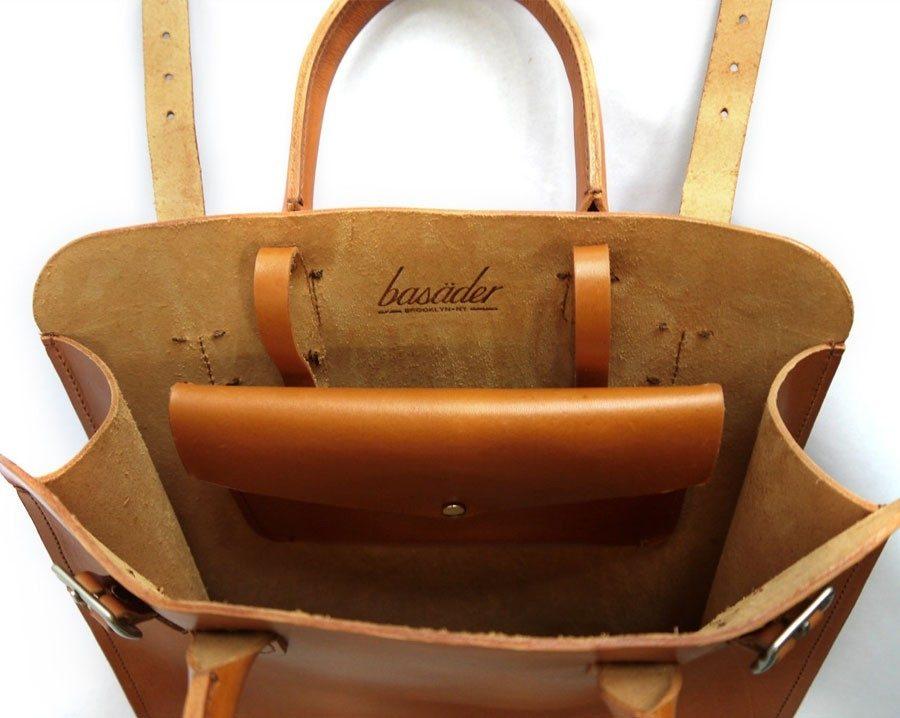 Full-grain leather tote bag